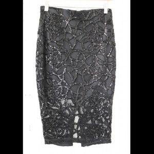 Express Sequin Black Skirt sz 0 NWT